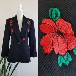 VTG 90s Laurèl Embroidered Flower Blazer Jacket